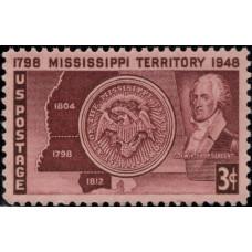1948, апрель. Почтовая марка США. 150-летие территории Миссисипи, 3 цента