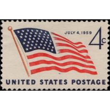 1959, июль. Почтовая марка США. Новый американский флаг с 49 звездами, 4 цента
