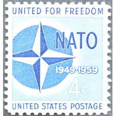 1959 Апрель. США, 10-летие НАТО, 4 цента