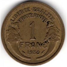 1 франк 1939 Франция - 1 franc 1939 France, из оборота