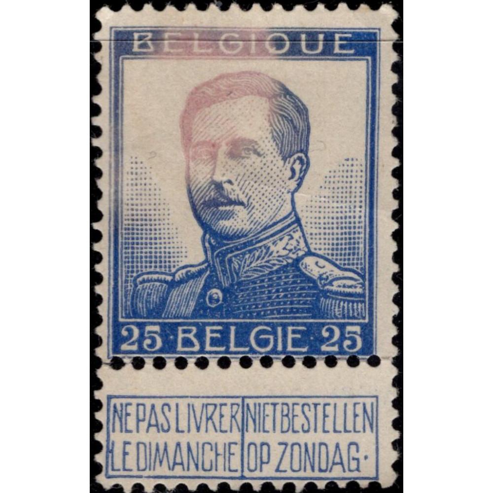 1912-1914. Почтовая марка Бельгии. Король Альберт, 25C