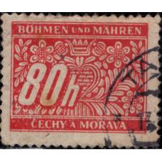 1942, январь. Почтовая марка Германии, Богемия и Моравия. Местные мотивы, 80H