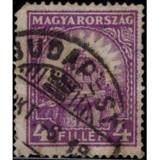 1928-1930. Почтовая марка Венгрии. Корона Святого Стефана и собор Матиаса, 4f