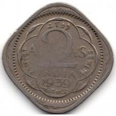 2 анны 1939 Британская Индия - 2 annas 1939 British India, из оборота