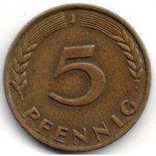 5 пфеннигов 1966 Германия (ФРГ) - 5 pfennig 1966 Germany, J, из оборота