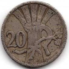 20 геллеров 1928 Чехословакия - 20 hellers 1928 Czechoslovakia, из оборота