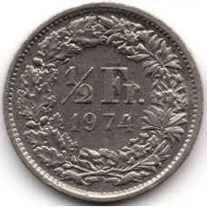 1/2 франка 1974 Швейцария - 1/2 franc 1974 Switzerland, из оборота