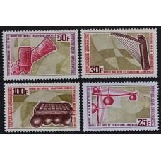 1969, июнь. Набор почтовых марок Габона. Традиционные музыкальные инструменты