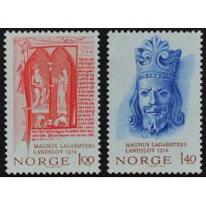1974, июнь. Набор почтовых марок Норвегии. 700-летие национального закона Магнуса Лагаботе