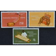 1970, февраль. Набор почтовых марок Танзании. Традиционные музыкальные инструменты