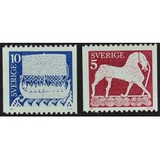1973, апрель. Набор почтовых марок Швеции. Лошадь и корабль викингов