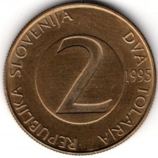 2 толара 1995 Словения - 2 tolara 1995 Slovenia, из оборота