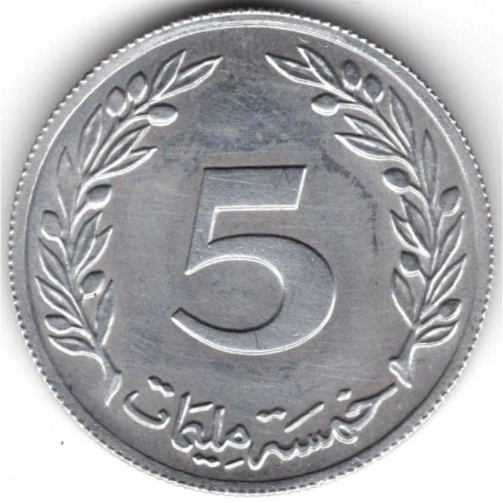 5 миллимов 1983 Тунис - 5 millim 1983 Tunisia, из оборота