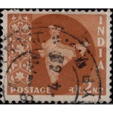 1958-1963. Почтовая марка Индии. Карта Индии, 2NP