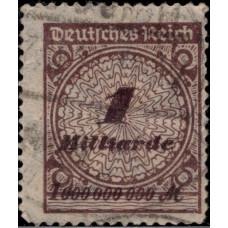1923. Почтовая марка Германской империи, Германский Рейх. С надпечаткой, 1Bi.Mk