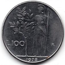 100 лир 1978 Италия - 100 lire 1978 Italy, из оборота