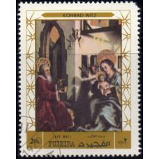 1970, декабрь. Почтовая марка ОАЭ, Фуджейра. Авиапочта- Рождество, 2R