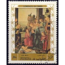 1970, декабрь. Почтовая марка ОАЭ, Фуджейра. Авиапочта- Рождество, 3R