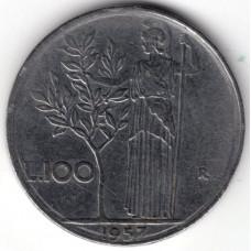 100 лир 1957 Италия - 100 lire 1957 Italy, из оборота