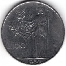 100 лир 1960 Италия - 100 lire 1960 Italy, из оборота