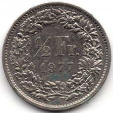 1/2 франка 1977 Швейцария - 1/2 franc 1977 Switzerland, из оборота