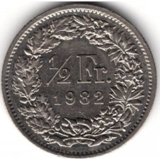 1/2 франка 1982 Швейцария - 1/2 franc 1982 Switzerland, из оборота