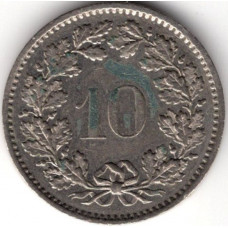 10 раппенов 1975 Швейцария - 10 rappenes 1975 Switzerland, из оборота