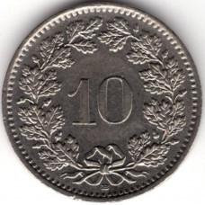 10 раппенов 1992 Швейцария - 10 rappenes 1992 Switzerland, из оборота