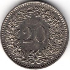 20 раппенов 1980 Швейцария - 20 rappenes 1980 Switzerland, из оборота