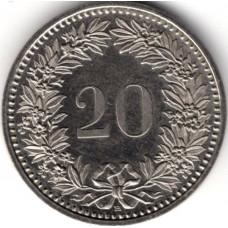 20 раппенов 1990 Швейцария - 20 rappenes 1990 Switzerland, из оборота