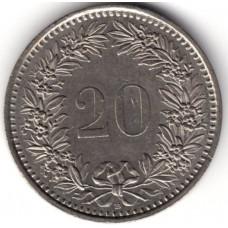 20 раппенов 1993 Швейцария - 20 rappenes 1993 Switzerland, из оборота