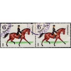 1982, февраль. Почтовая марка СССР. Советское коневодство, 6 коп