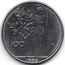 100 лир 1989 Италия - 100 lire 1989 Italy, из оборота