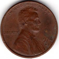 1 цент 1974 США - 1 cent 1974 USA, D, из оборота