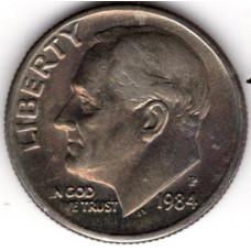 1 дайм (10 центов) 1984 США - 1 dime (10 cents) 1984 USA, P, из оборота