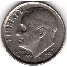 1 дайм (10 центов) 1991 США - 1 dime (10 cents) 1991 USA, P, из оборота