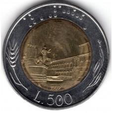 500 лир 1989 Италия - 500 lire 1989 Italy, из оборота