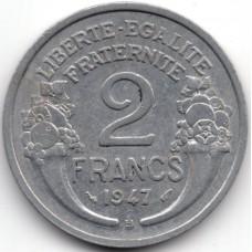 2 франка 1947 Франция - 2 francs 1947 France, из оборота