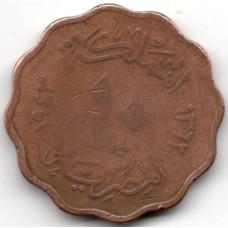 10 миллим 1943 Египет - 10 milliemes 1943 Egypt, из оборота