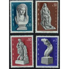 1967, февраль. Набор почтовых марок Греции. Греческие скульпторы