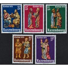 1973, декабрь. Набор почтовых марок Люксембурга. Религиозные статуэтки