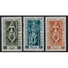 1948, июнь. Набор почтовых марок Французской Индии. Скульптуры