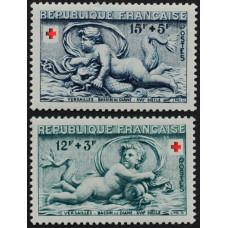 1952, декабрь. Набор почтовых марок Франции. Красный Крест