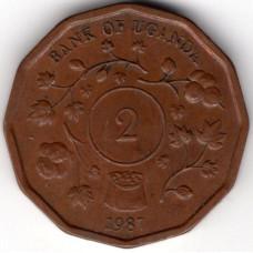 2 шиллинга 1987 Уганда - 2 shillings 1987 Uganda, из оборота