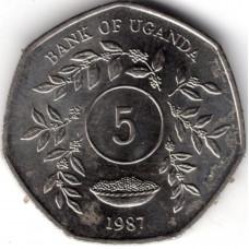 5 шиллингов 1987 Уганда - 5 shillings 1987 Uganda, из оборота