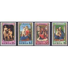 1990, октябрь. Набор почтовых марок Самоа. Рождество. Картины