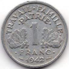 1 франк 1942 Франция - 1 franc 1942 France, из оборота