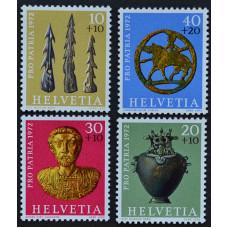 1972, июнь. Набор почтовых марок Швейцарии. Археологические находки
