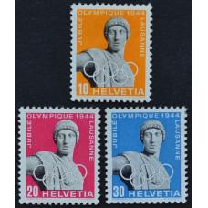 1944, март. Набор почтовых марок Швейцарии. 50 лет Международному олимпийскому комитету