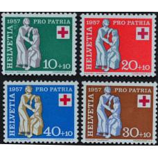 1957, июнь. Набор почтовых марок Швейцарии. Красный Крест